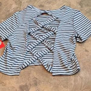 Hot kiss striped backless cut out strappy t shirt